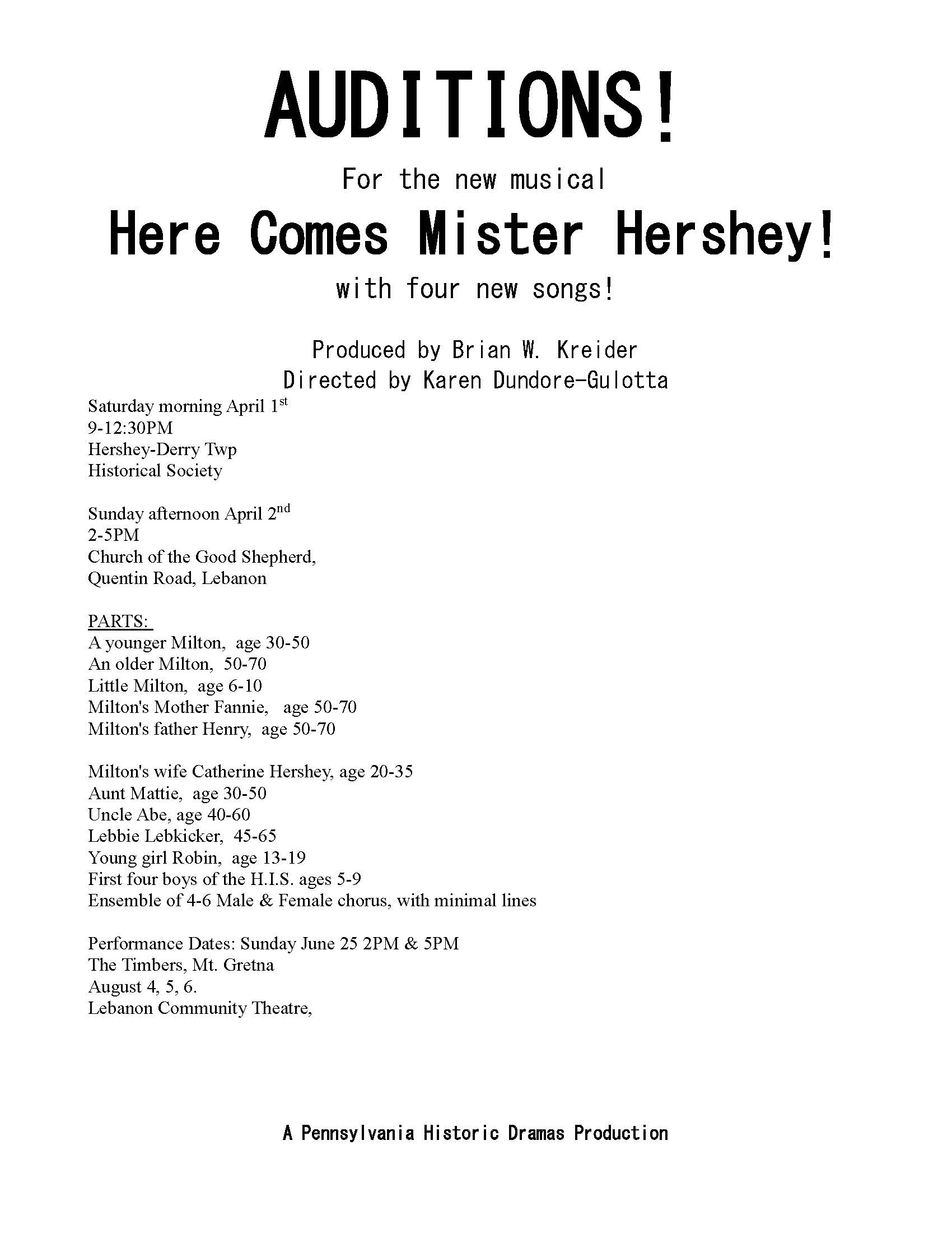 Auditions!!  Here Comes Mr Hershey – April 1 & April 2